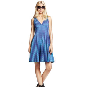 Peter Som Design Nation blue striped flared dress